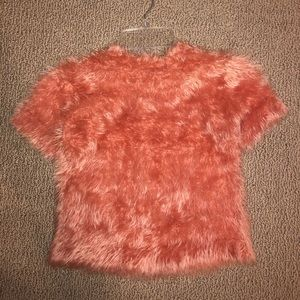 Woven Heart Fuzzy Cropped Sweater